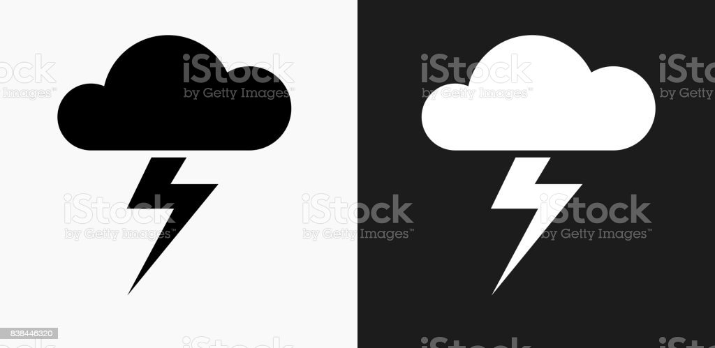 Clouds and Thunderstorm Icon on Black and White Vector Backgrounds vector art illustration