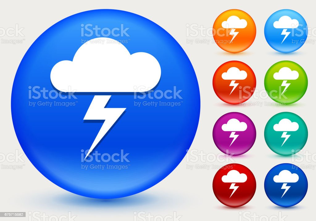 Clouds and Thunderstorm Icon on Shiny Color Circle Buttons royalty-free clouds and thunderstorm icon on shiny color circle buttons stock vector art & more images of circle