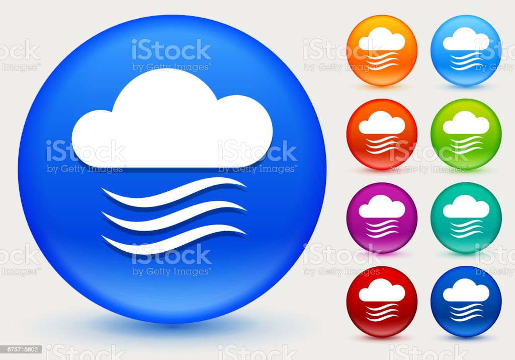 雲和風上閃亮的彩色圓圈按鈕圖示 免版稅 雲和風上閃亮的彩色圓圈按鈕圖示 向量插圖及更多 圓形 圖片