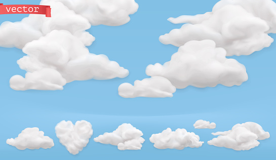 Clouds cartoon. Sky, 3d realistic vector icon set
