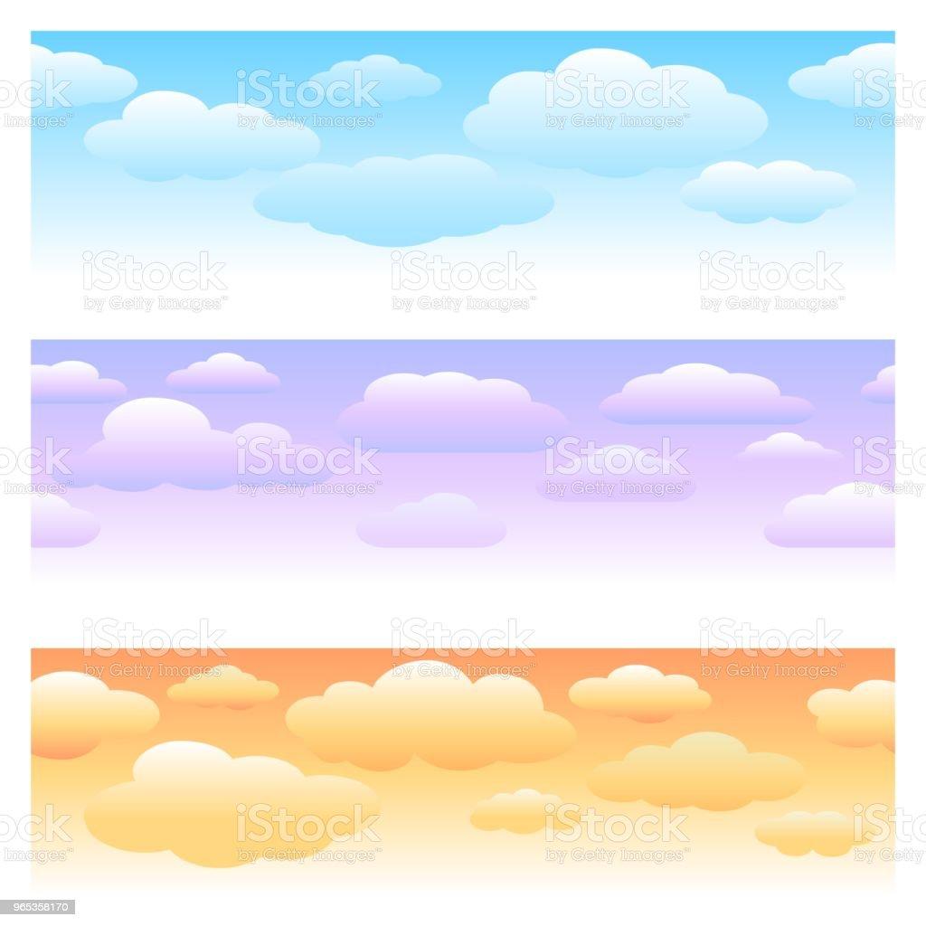 구름 수평 완벽 한 패턴 - 로열티 프리 0명 벡터 아트