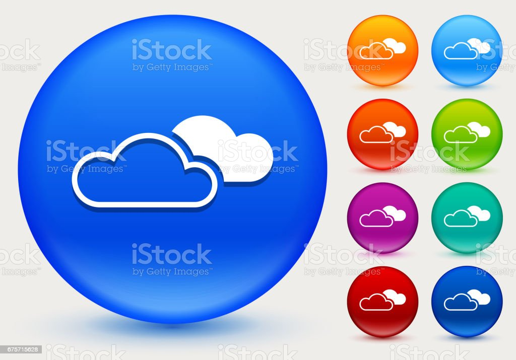 雲上閃亮的彩色圓圈按鈕圖示 免版稅 雲上閃亮的彩色圓圈按鈕圖示 向量插圖及更多 圓形 圖片