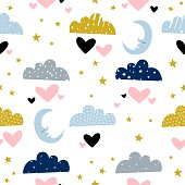 Clouds illustration with a moon. Seamless pattern with hand drawn elements for kids design. - Vector