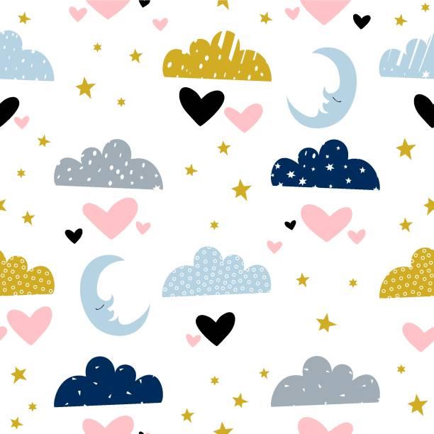 bildbanksillustrationer, clip art samt tecknat material och ikoner med molnen illustration med en måne. seamless mönster med hand dras element för barn. -vektor - baby sleeping