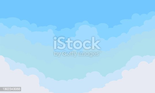 istock Clouds in blue sky, cloud background, vector 1302343055