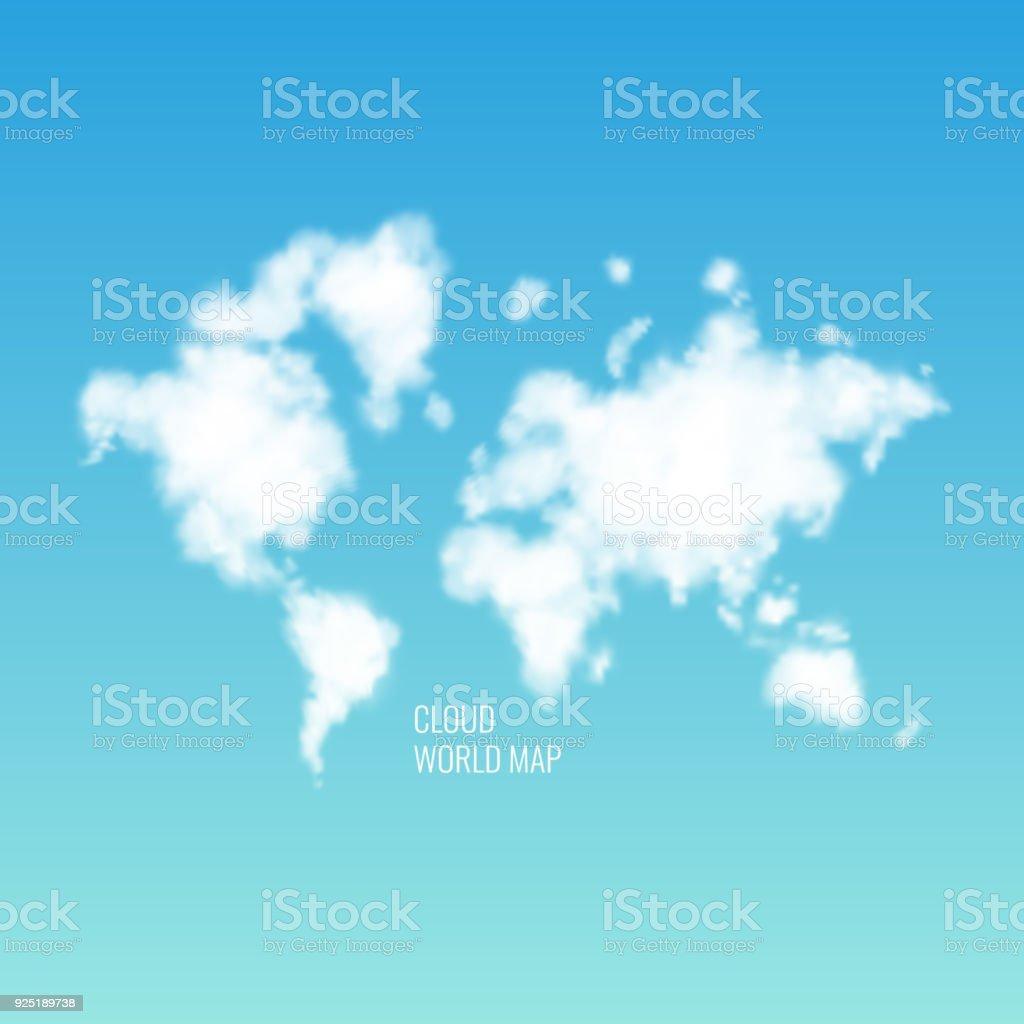 Carte Du Monde Realiste.Nuages En Forme Dune Carte Du Monde Dans Le Ciel Bleu Illustration