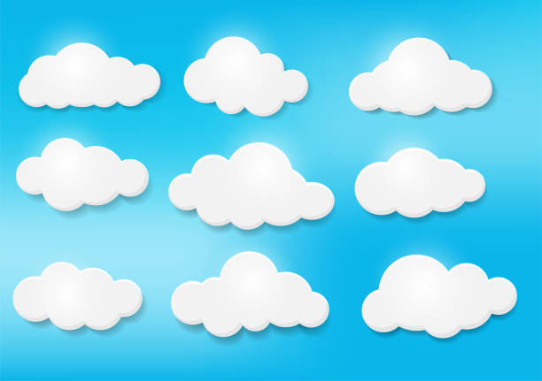 clouds in the sky in various forms. light and shadow make the picture look beautiful. - chmura stock illustrations