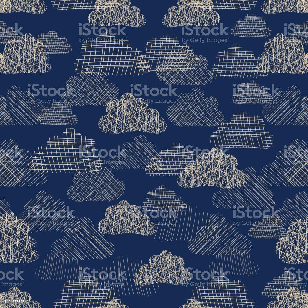 雲空のシームレス パターン青色の背景のテクスチャの雲のベージュの