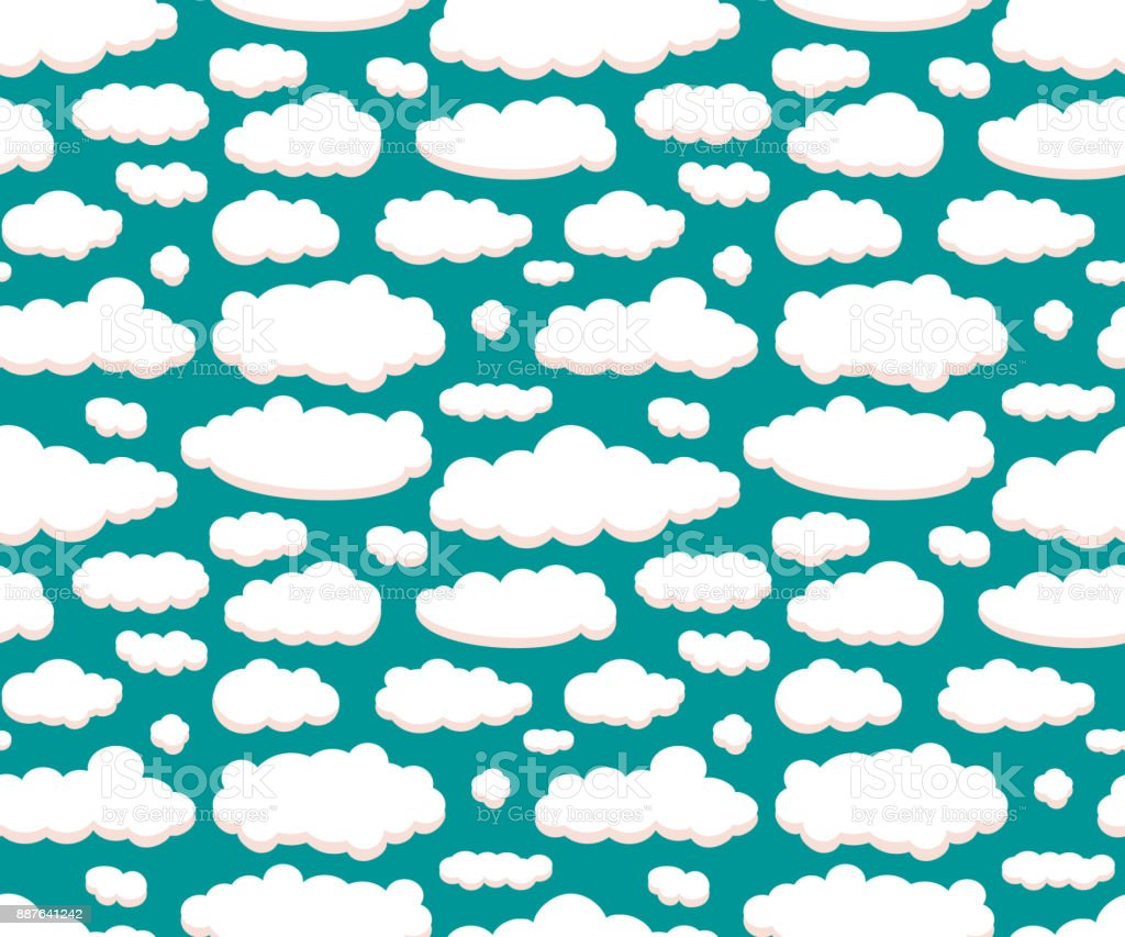 Clouds isolated on green sky seamless pattern vector art illustration
