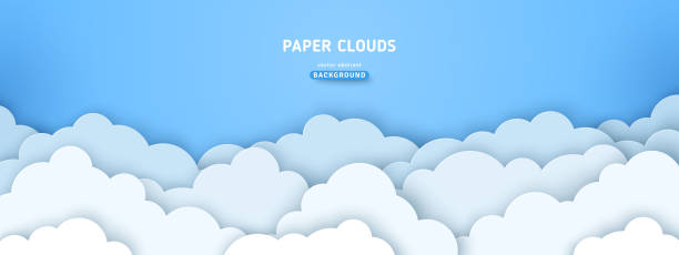 illustrations, cliparts, dessins animés et icônes de nuages sur la bannière de ciel bleu - sky