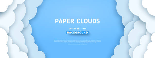 Clouds on blue sky border Beautiful fluffy clouds on blue sky background. Vector illustration. Paper cut style. Place for text heaven stock illustrations