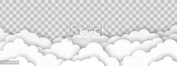 Beautiful fluffy clouds on transparent background. Vector illustration. Paper cut style.