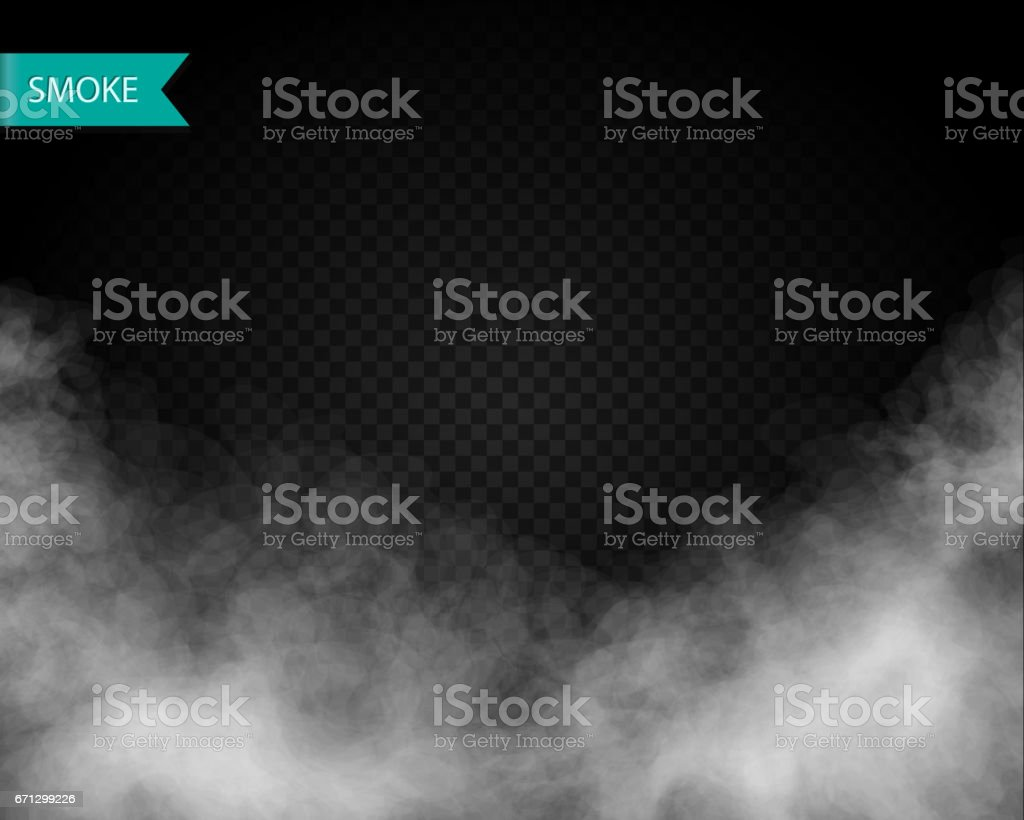 Clouds or smoke vector on transparent background vector art illustration
