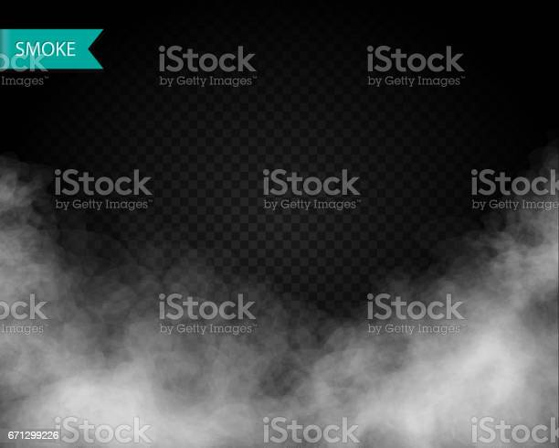 Clouds or smoke vector on transparent background.