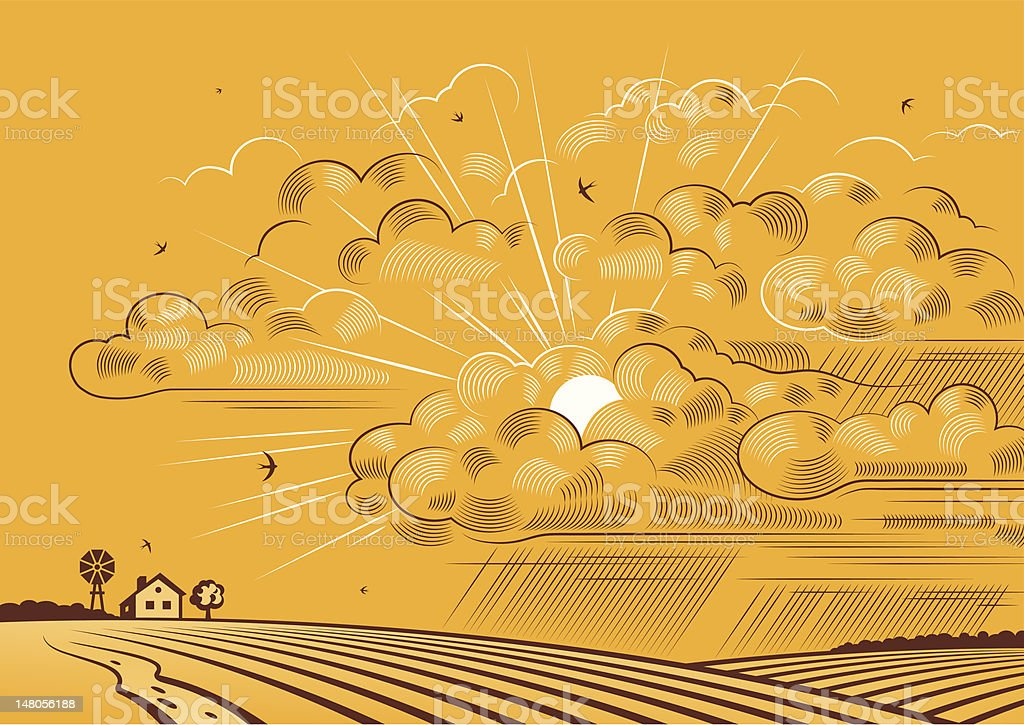 Clouds over fields royalty-free stock vector art