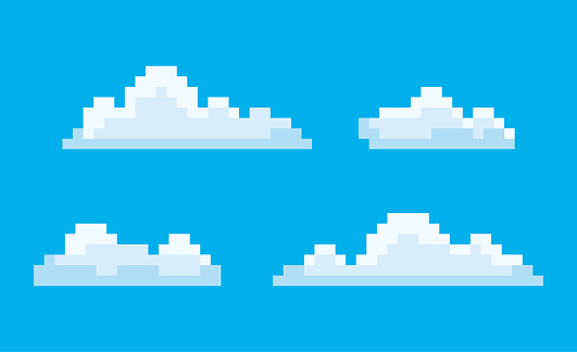 Pixel art game icons vector, isolated bit cloud. Pixelated cloudscape blue sky with smoke, elements 8 and 16 bit graphics, clouds drawing in retro style