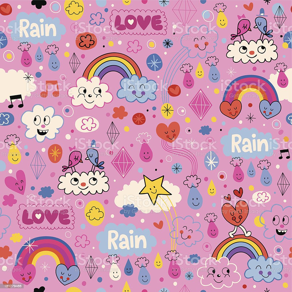 clouds rainbows birds rain love hearts cartoon pattern royalty-free stock vector art