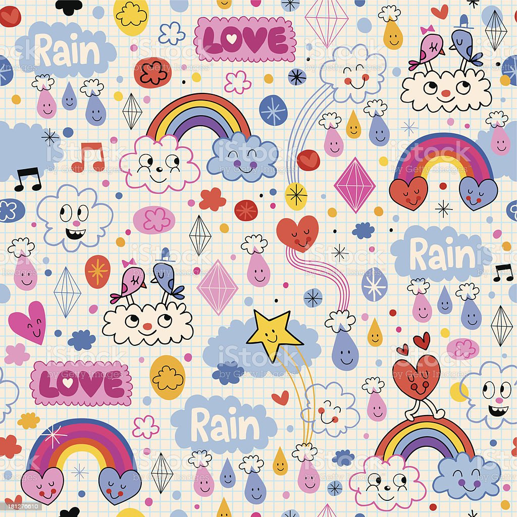 clouds rainbows birds rain love hearts pattern royalty-free clouds rainbows birds rain love hearts pattern stock vector art & more images of animal markings