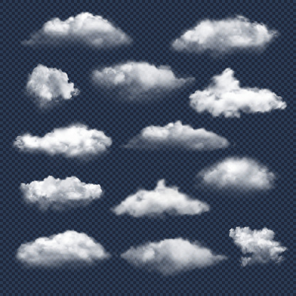 Clouds realistic. Nature sky weather symbols rain or snow cloud vector collection. Cloud and sky, cloudy meteorology, weather elements illustration