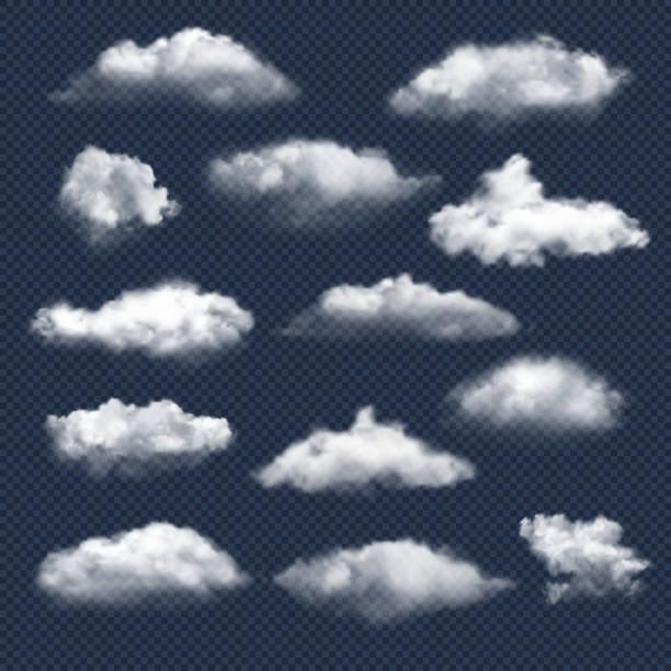 구름이 현실적입니다. 자연 하늘 날씨 기호 비 또는 눈 구름 벡터 컬렉션 - 구름 stock illustrations