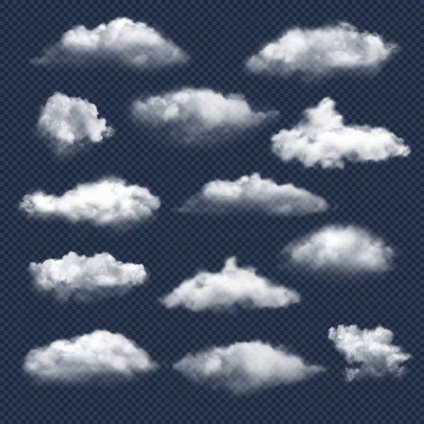Clouds realistic. Nature sky weather symbols rain or snow cloud vector collection vector art illustration