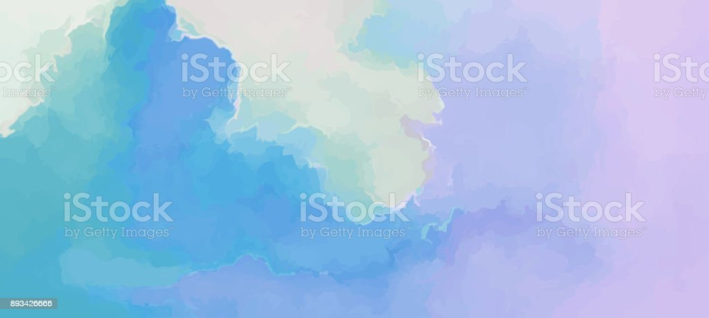 Clouds scenic backdrop blue-pink gentle morning sunrise. Hand painted watercolor sky and clouds, abstract background illustration. vector art illustration