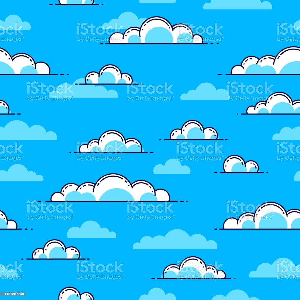 雲シームレスな背景天気と屋外cloudscape 空ベクトルの壁紙やウェブ