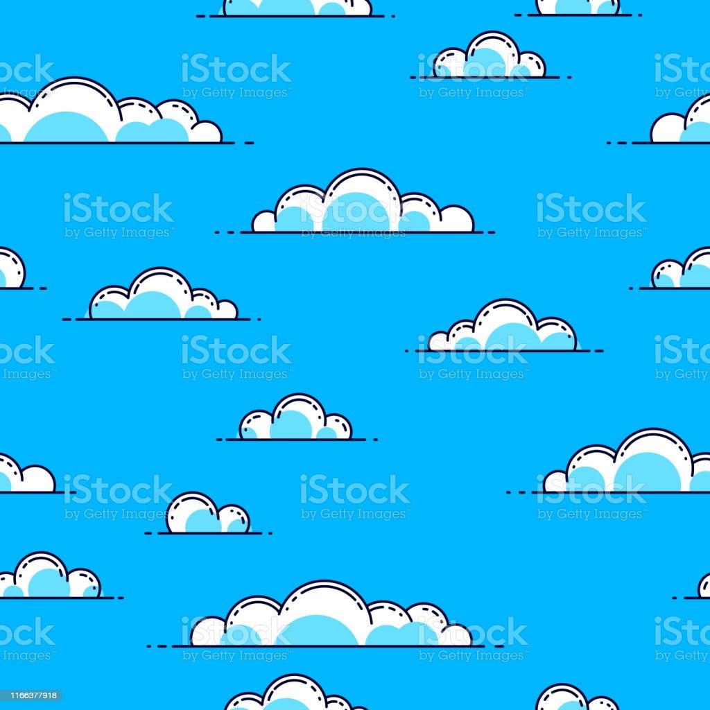 雲シームレスな背景天気と屋外雲景空ベクトル壁紙やウェブサイトの背景