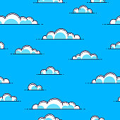 Clouds seamless background, weather and outdoors, cloudscape sky, vector wallpaper or web site background.