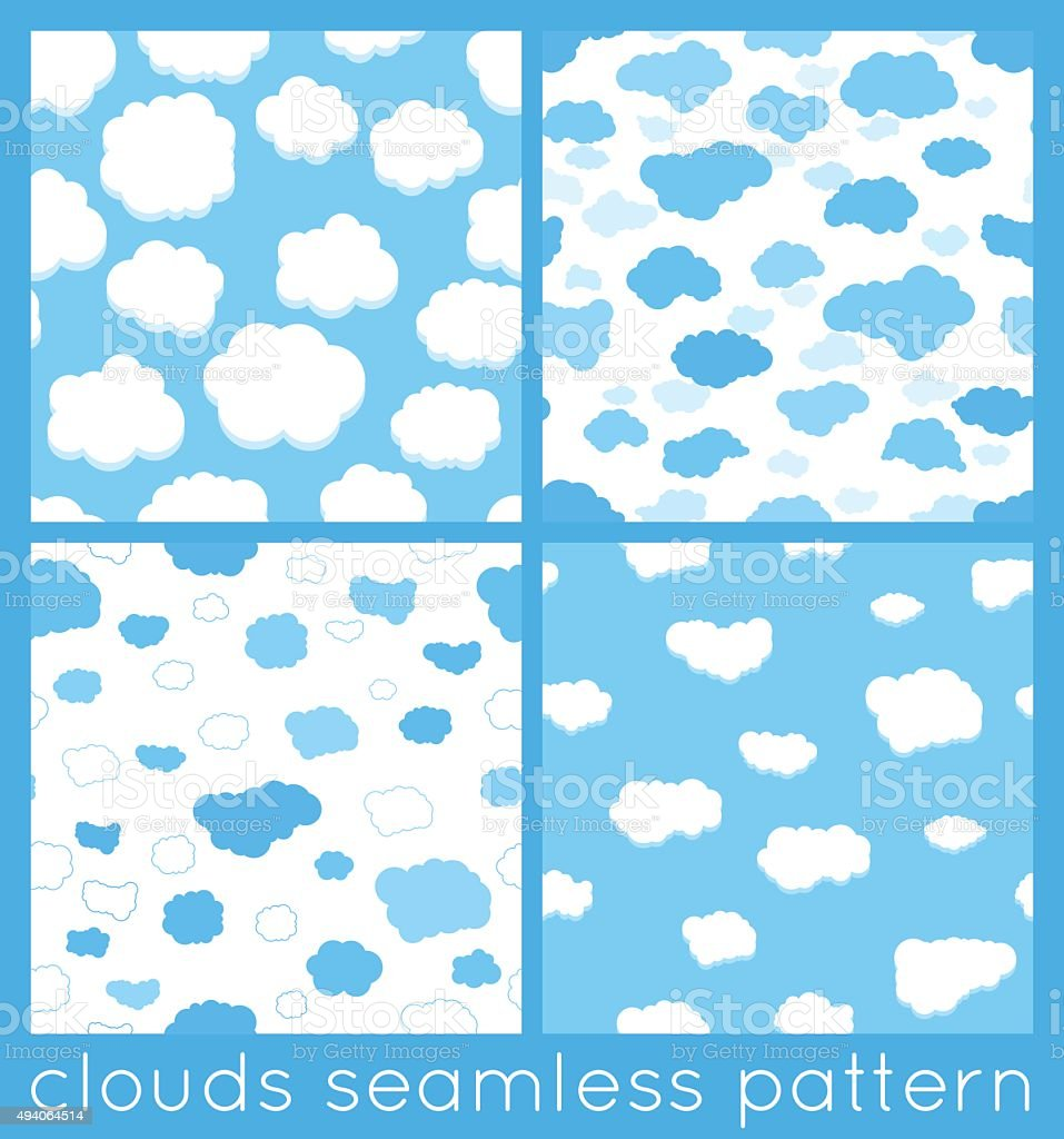 Clouds seamless pattern set vector art illustration