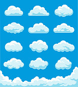 Vector illustration on the clouds set.