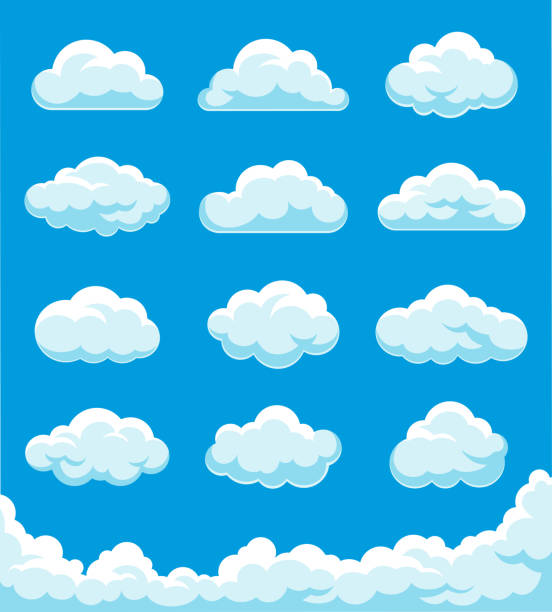clouds set illustration - chmura stock illustrations