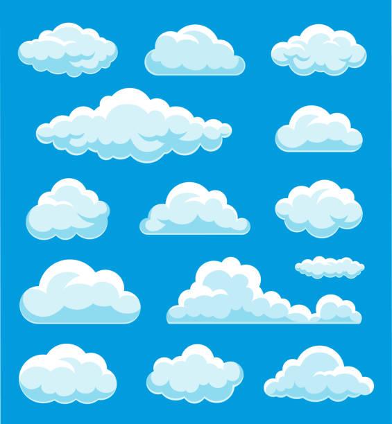 구름 세트 일러스트레이션 - 구름 stock illustrations