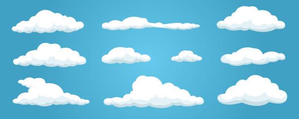 구름은 파란색 배경에 고립 설정 합니다. 간단한 귀여운 만화 디자인입니다. 아이콘 또는 로고 컬렉션입니다. 현실적인 요소. 평면 스타일 벡터 일러스트입니다. - 구름 stock illustrations