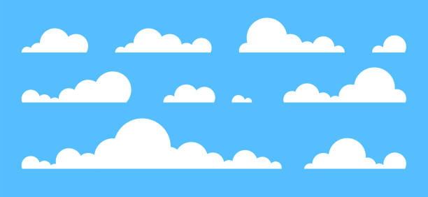 구름은 파란색 배경에 고립 설정 합니다. 간단한 귀여운 만화 디자인입니다. 아이콘 또는 로고 컬렉션입니다. 현실적인 요소. 평면 스타일 벡터 일러스트입니다. - sky stock illustrations