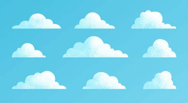 구름은 파란색 배경에 격리설정됩니다. 심플하고 귀여운 만화 디자인. 현대 아이콘 또는 로고 컬렉션입니다. 사실적인 요소. 플랫 스타일 벡터 그림입니다. - sky stock illustrations