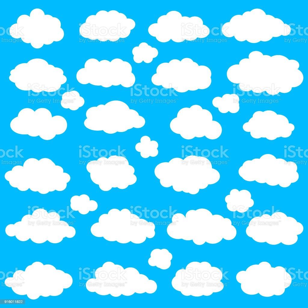 Clouds set on blue sky background vector art illustration