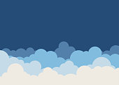 Clouds set on blue sky landscape vector background with space on beside for text.