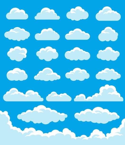 clouds set - clouds stock-grafiken, -clipart, -cartoons und -symbole
