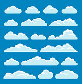 Vector illustration of the clouds set on blue background