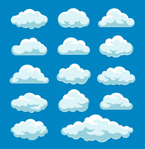 wolken-set - wolken stock-grafiken, -clipart, -cartoons und -symbole