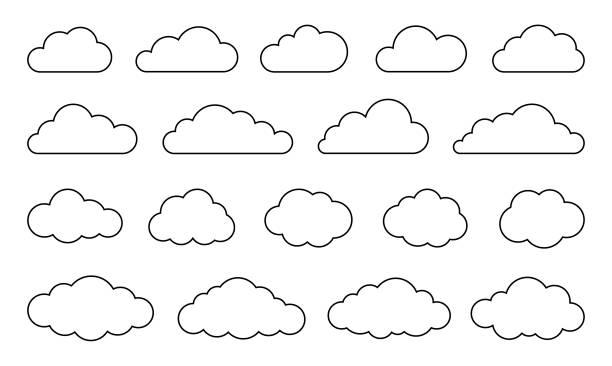 구름 세트 - 벡터 스톡 컬렉션 - 구름 stock illustrations