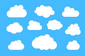 Clouds silhouettes - vector collection of various shapes.