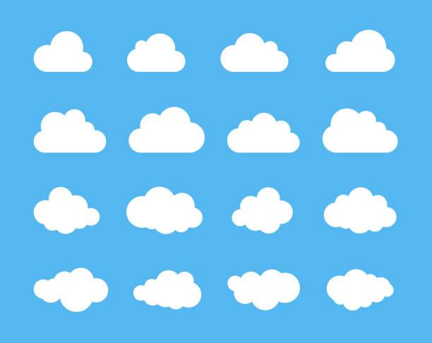 구름의 실루엣 벡터의 구름 모양을 설정합니다. 다양 한 형태와 윤곽의 컬렉션입니다. 일기 예보에 대 한 요소를 디자인, 웹 인터페이스 또는 클라우드 스토리지 응용 프로그램 - 구름 stock illustrations