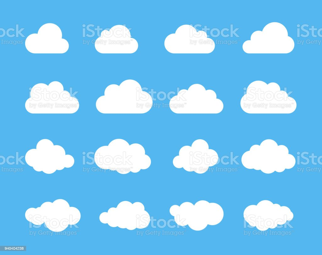 Clouds silhouettes. Vector set of clouds shapes. Collection of various forms and contours. Design elements for the weather forecast, web interface or cloud storage applications vector art illustration