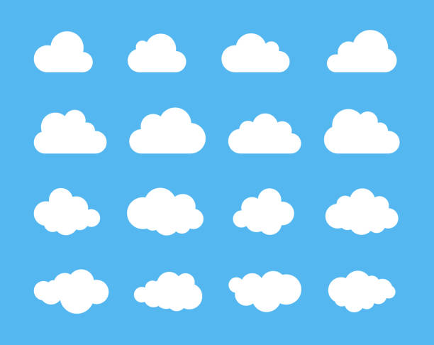 clouds silhouettes. vector set of clouds shapes. collection of various forms and contours. design elements for the weather forecast, web interface or cloud storage applications - chmura stock illustrations
