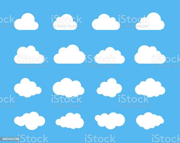 Clouds silhouettes. Vector set of clouds shapes. Collection of various forms and contours. Design elements for the weather forecast, web interface or cloud storage applications.