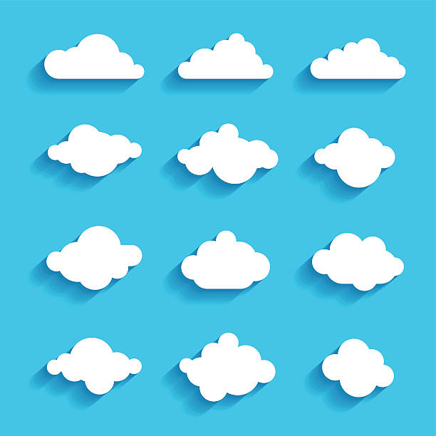 clouds sky heaven icon symbol label logo sign - clouds stock illustrations, clip art, cartoons, & icons