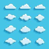 clouds sky heaven icon symbol label logo sign set