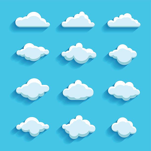 clouds sky heaven icon symbol label logo sign vector art illustration